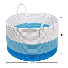 Load image into Gallery viewer, XXXL Decorative Storage Bins Blue Basket  Toy Basket for Baby Nursery Room