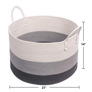 XXXL Gray Bathroom Storage Baskets Woven Rope Basket with Handles Clothes Hamper large standard size