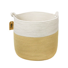 Load image into Gallery viewer, Yellow Woven Nursery Bins Baskets with handle for Blanket Throw Pillows Magazine Storage