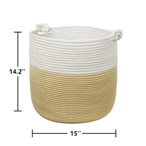 Yellow Woven Nursery Bins Baskets with handle for Blanket Throw Pillows Magazine Storage