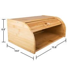 "Load image into Gallery viewer, Countertop Bamboo Bread Box 15.8""x 10.8""x 6.8"""