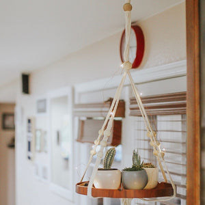 Hanging Plant Holders With Brown Wooden Shelf