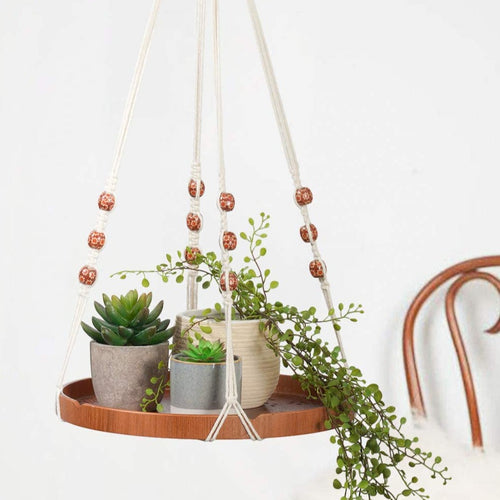 Boho Decorative Flower Pot Holder Macrame Plant Shelf with One Hook