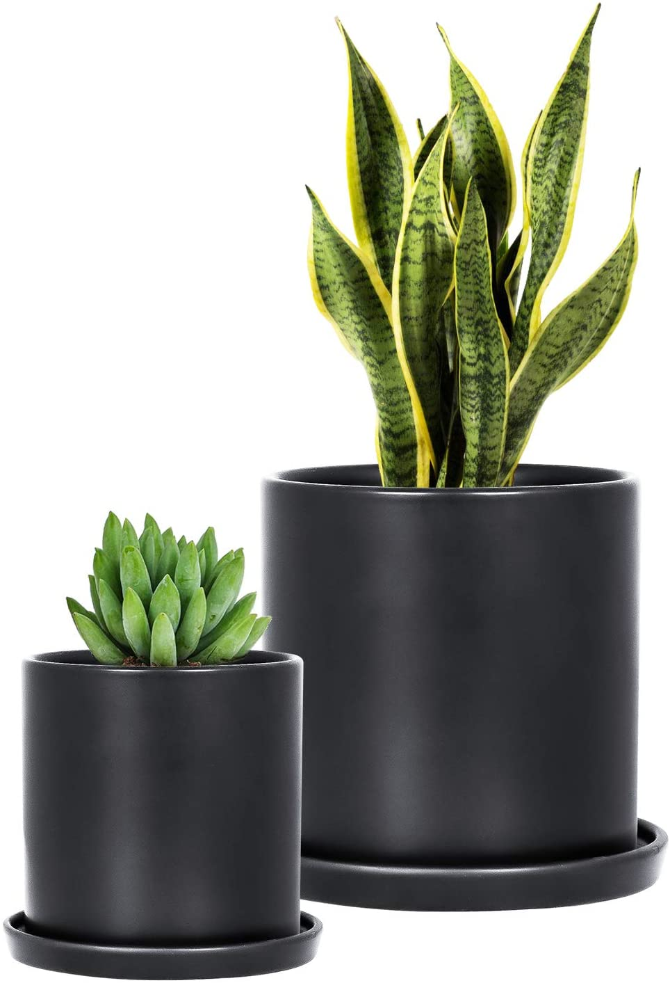 2 Pcs Ceramic Plant Pots Indoor Modern Planters Black