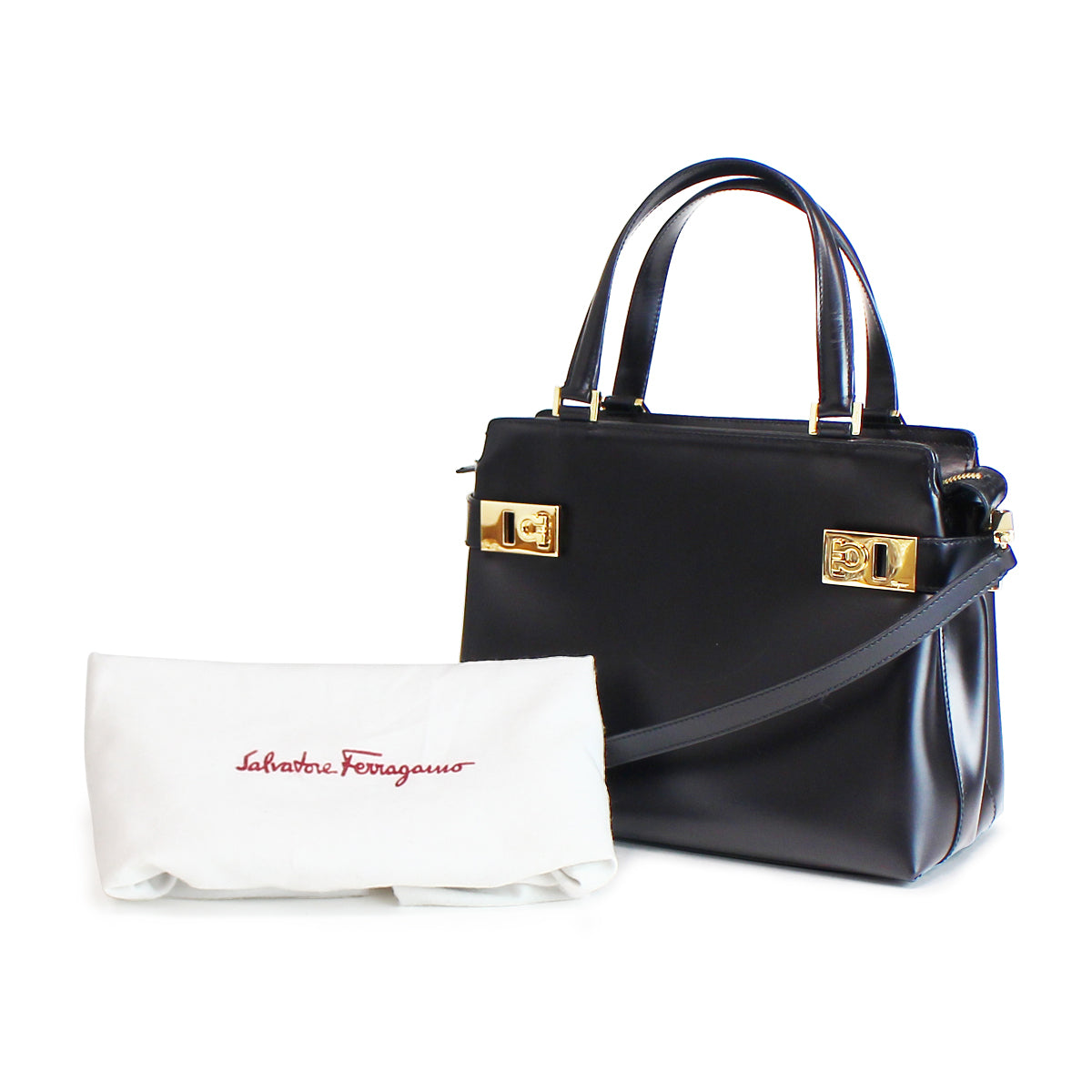 SALVATORE FERRAGAMO AQ-21 Gancini 2 way Shoulder Bag – CHUCO STYLE ff2d9e288c0d3