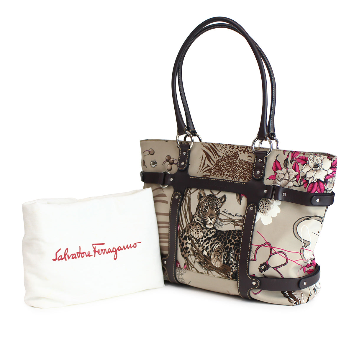 ad87fb9d84 SALVATORE FERRAGAMO AU-21 Animal Print Tote Bag – CHUCO STYLE