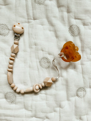 Wooden Beads Pacifier Clip