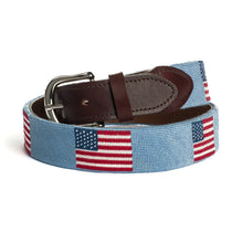 Load image into Gallery viewer, American Flag Needlepoint Belt (Light Blue)