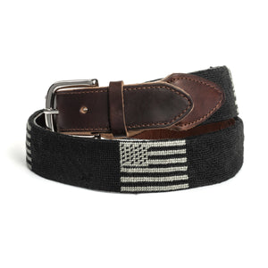 Needlepoint American Flag Belt in Black
