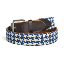 Load image into Gallery viewer, Houndstooth Needlepoint Belt (Navy)