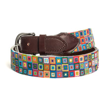 Load image into Gallery viewer, Multi-Colored Squares Needlepoint Belt