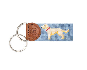 Yellow Lab Needlepoint Keychain (Light Blue)