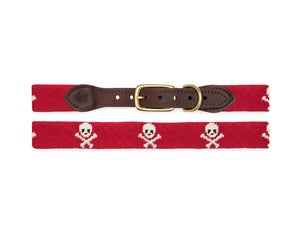 Skull And Crossbones Needlepoint Dog Collar (Red)