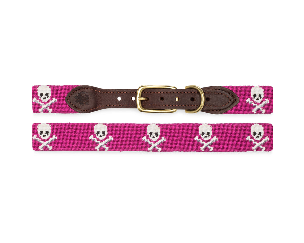 Skull And Crossbones Needlepoint Dog Collar (Fuchsia)