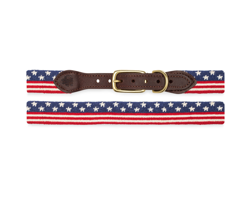 Continuous American Flag Needlepoint Dog Collar
