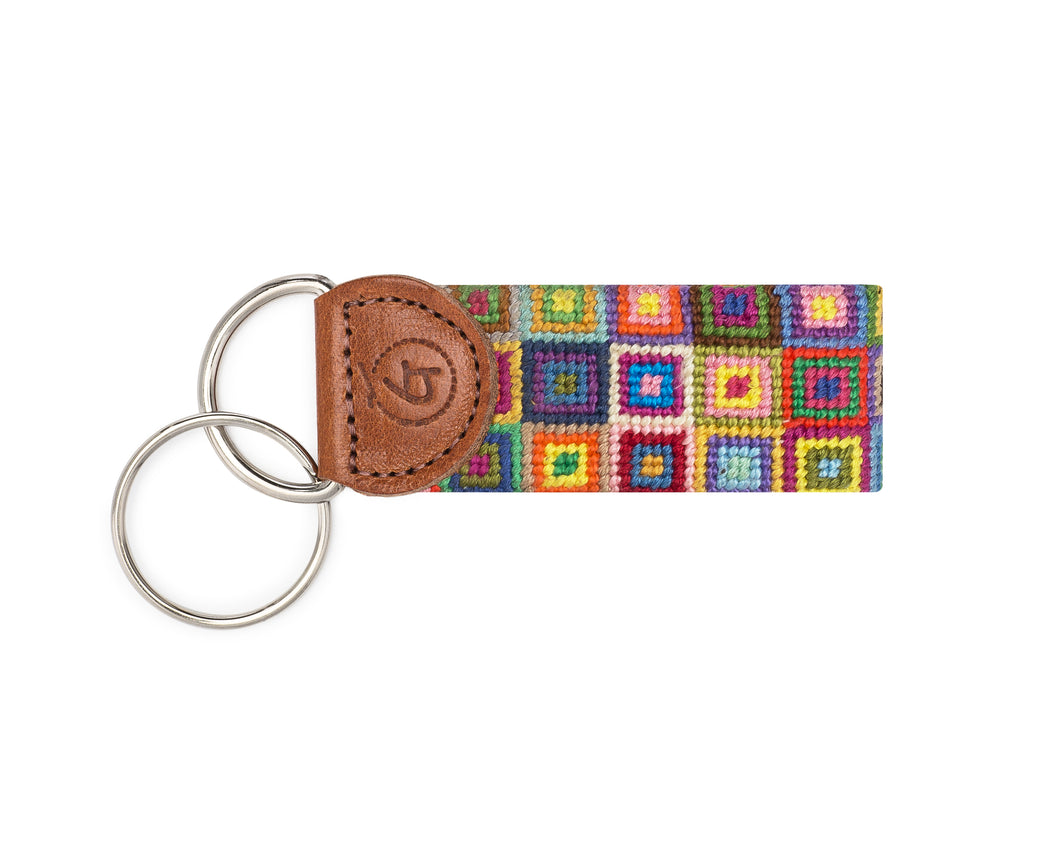 Multi-Colored Squares Needlepoint Keychain