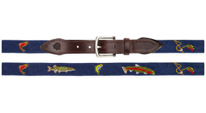 Gone Fishing Needlepoint Belt