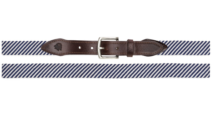 Seersucker Needlepoint Belt (Navy)