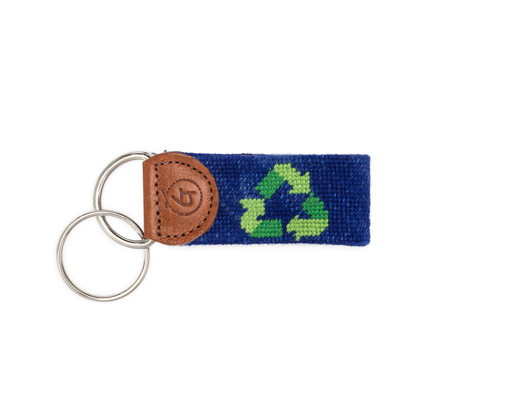 Reduce Reuse Recycle Needlepoint Keychain