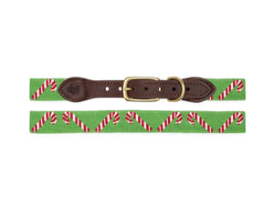 Candy Cane Needlepoint Dog Collar