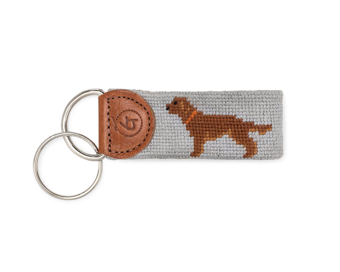 Chocolate Lab Needlepoint Keychain