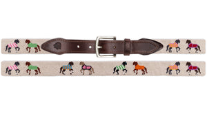 Horses In Blankets Needlepoint Belt (Tan)