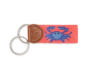 Crab Needlepoint Keychain