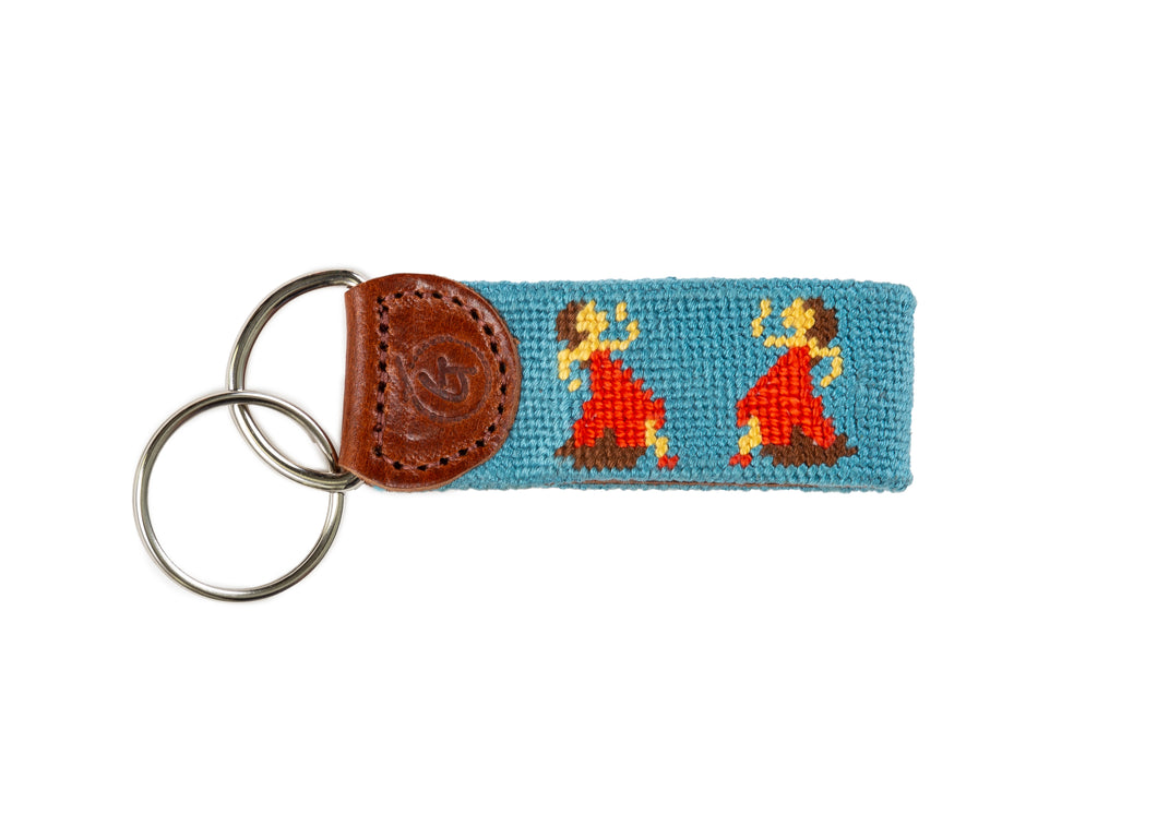 Dancing Ladies Needlepoint Keychain