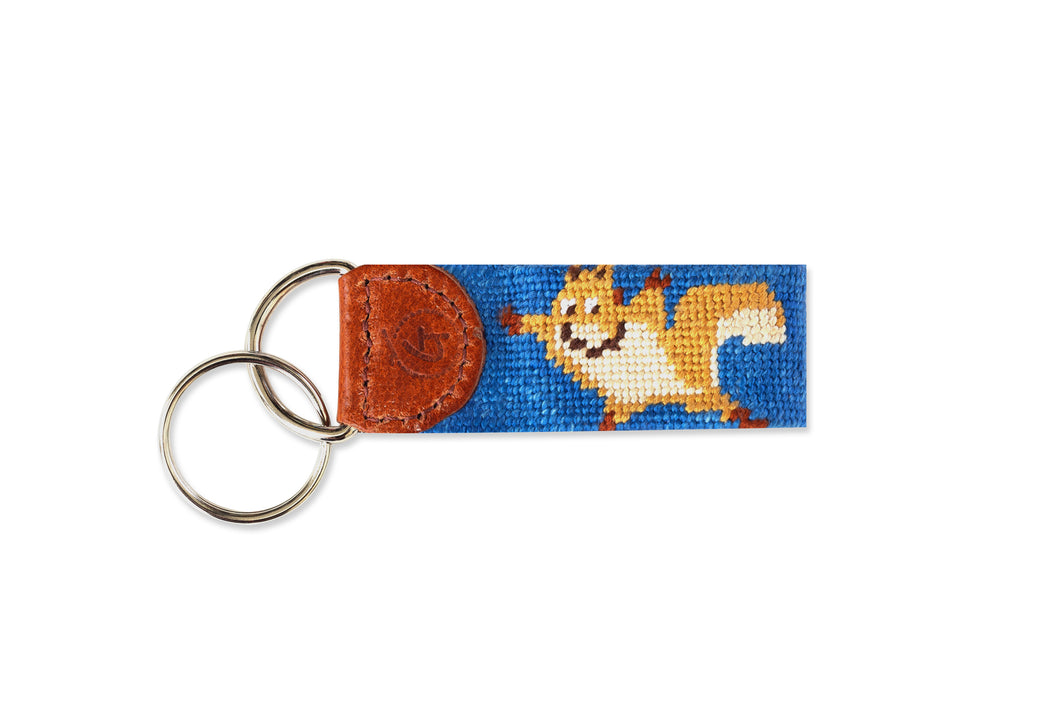 Flying Squirrel Needlepoint Keychain