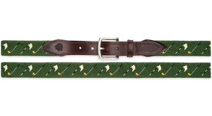 Golf Flags Needlepoint Belt (Navy and Green backgrounds available)