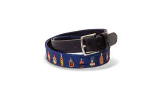 Bourbon Bottles Needlepoint Belt
