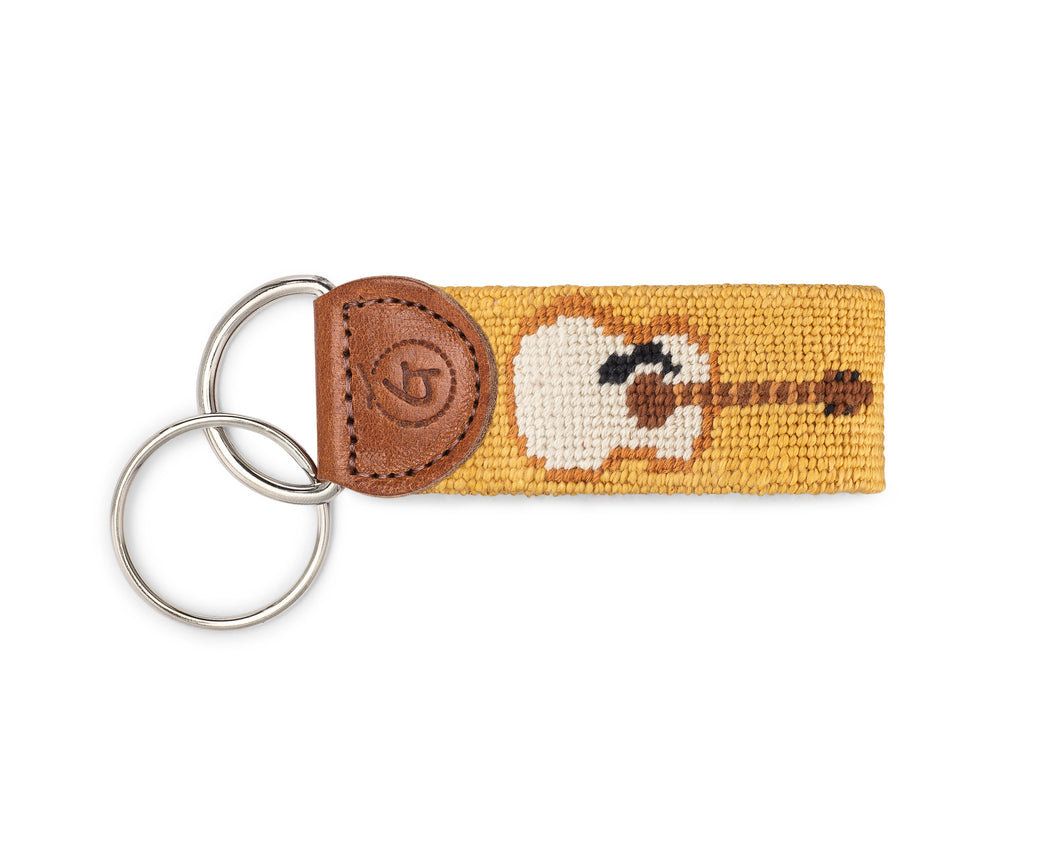 Guitar Needlepoint Keychain
