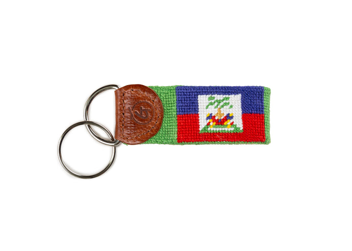 Flag Of Haiti Needlepoint Keychain