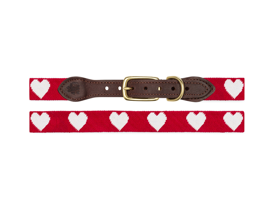 Hearts Needlepoint Dog Collar