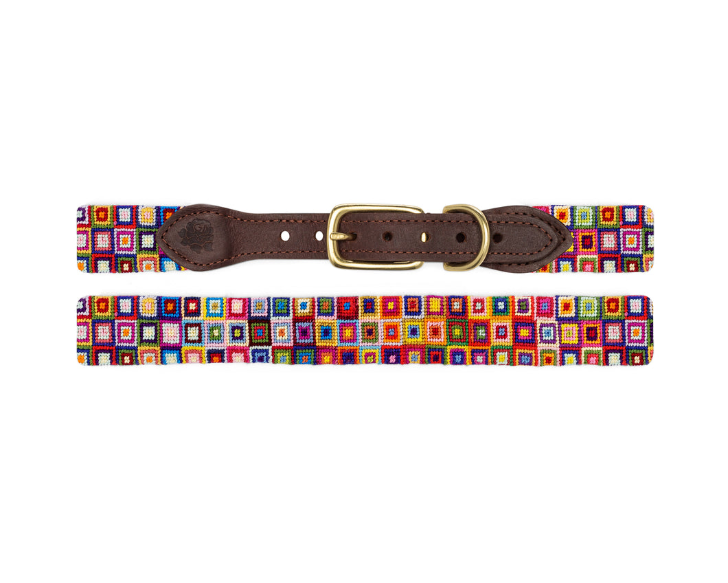 Multi-Colored Squares Needlepoint Dog Collar