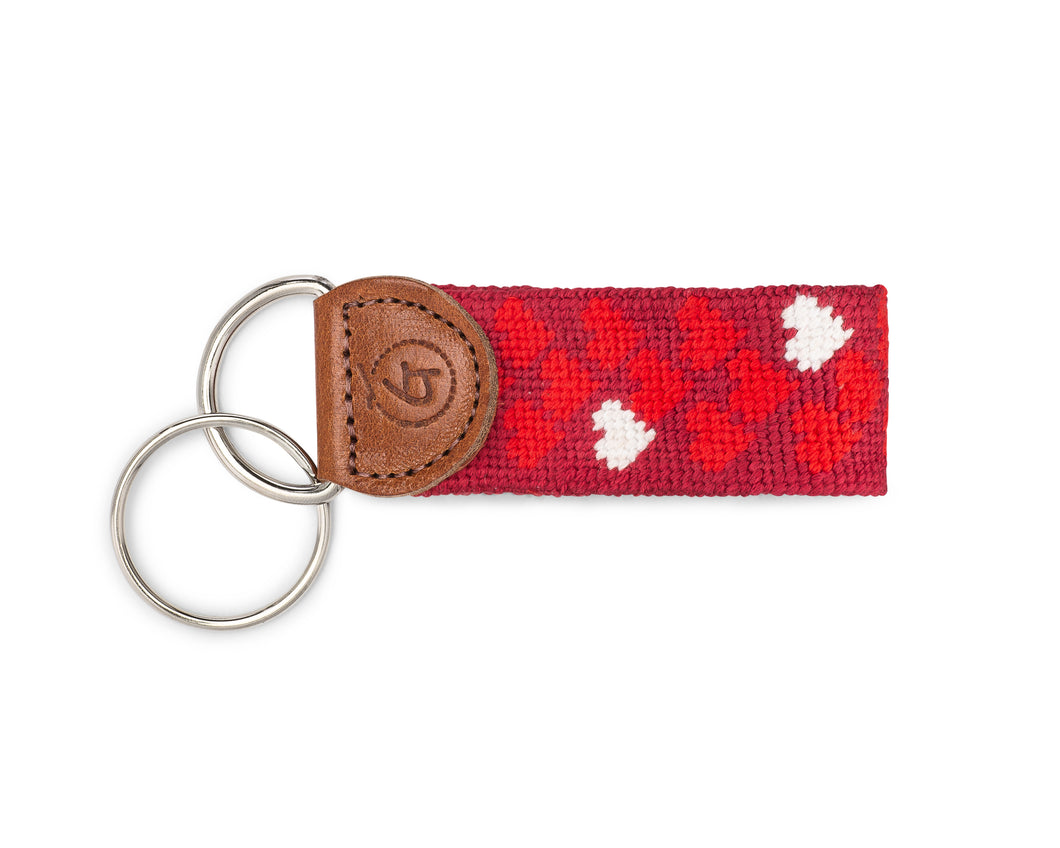 Mini Hearts Needlepoint Keychain