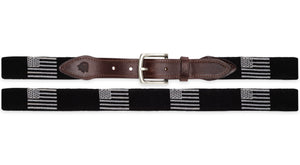 American Flag Belt Needlepoint Belt in Black