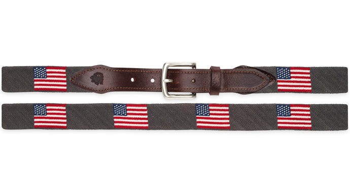 American Flag Needlepoint Belt in Dark Gray