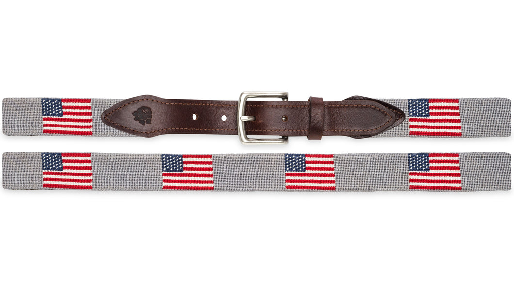 American Flag Needlepoint Belt (Light Gray)