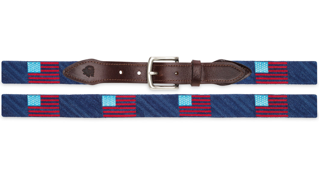 American Flag Belt Needlepoint Belt (True Blue)