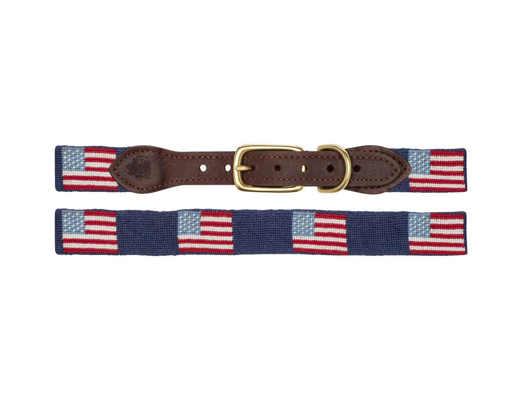 American Flag Needlepoint Dog Collars