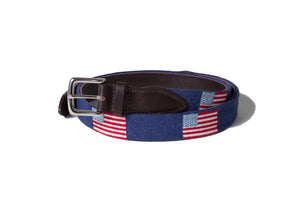 American Flag Needlepoint Belt (Navy)