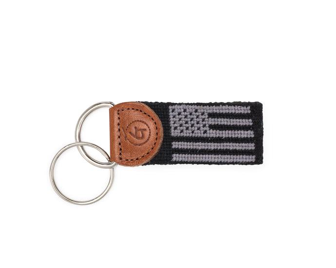American Flag Needlepoint Keychain (Black)