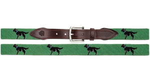 Black Lab Needlepoint Belt (Green)