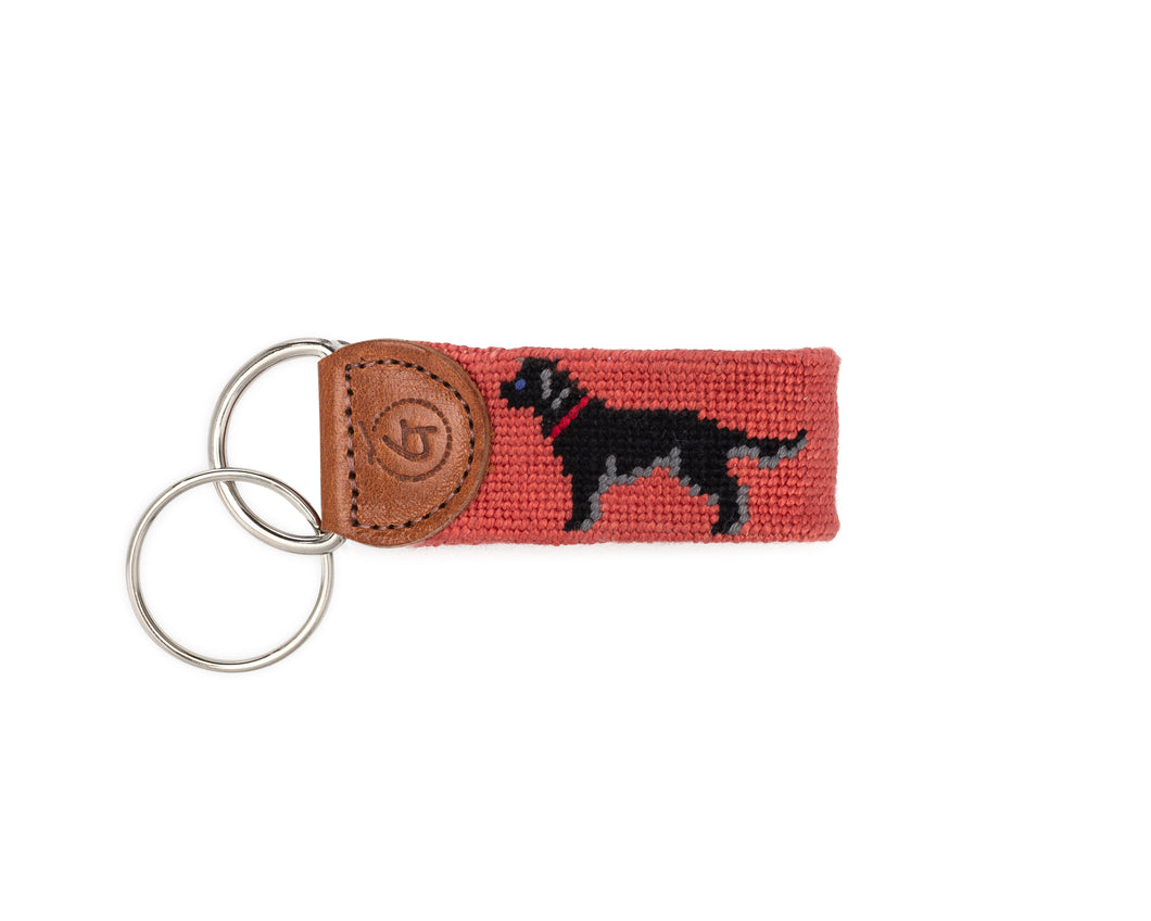 Black Lab Needlepoint Keychain (Salmon)