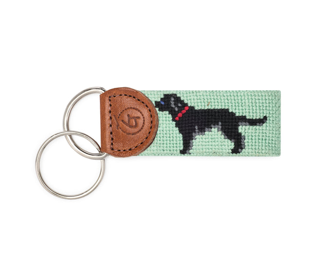 Black Lab Needlepoint Keychain
