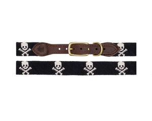Skull And Crossbones Needlepoint Dog Collars (Black)