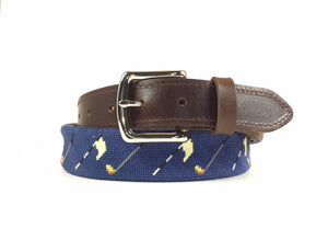 Golf Flags Needlepoint Belt (Navy)
