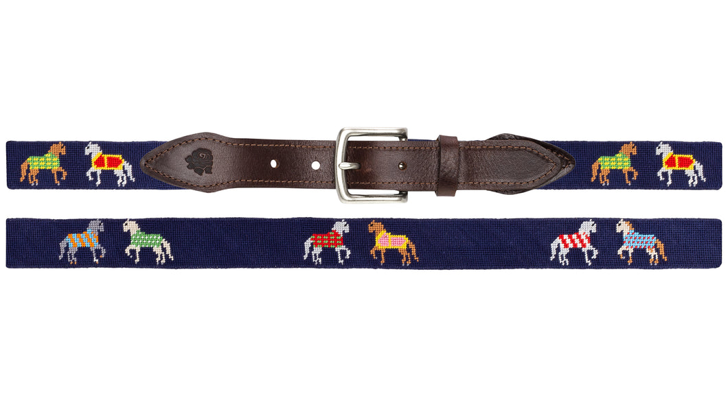 Horses In Blankets Needlepoint Belt (Navy)