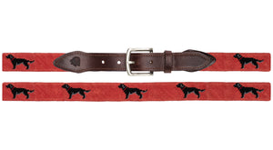 Black Lab Needlepoint Belt (Salmon)